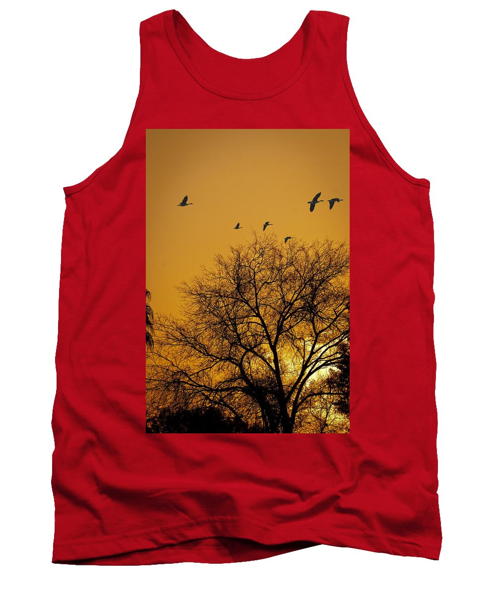 Sunrise Tank Top featuring the photograph Geese At Sunrise by Jay Hooker