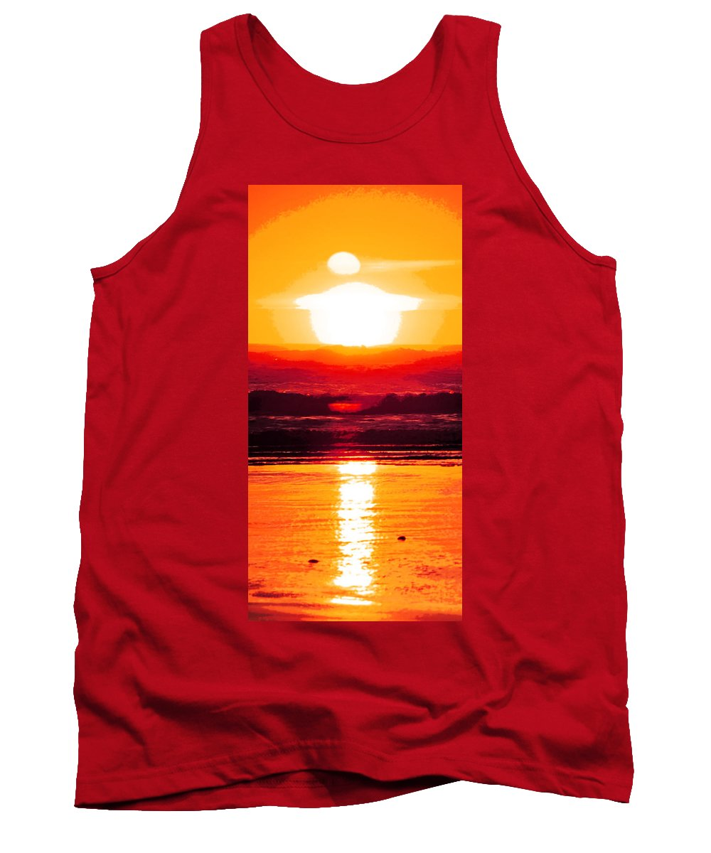 Sun Tank Top featuring the digital art Golden Sunset Illustration by Phill Petrovic