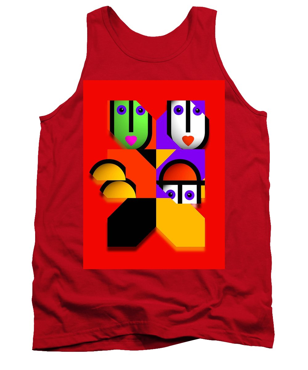 Pop Tank Top featuring the painting Love Red by Charles Stuart