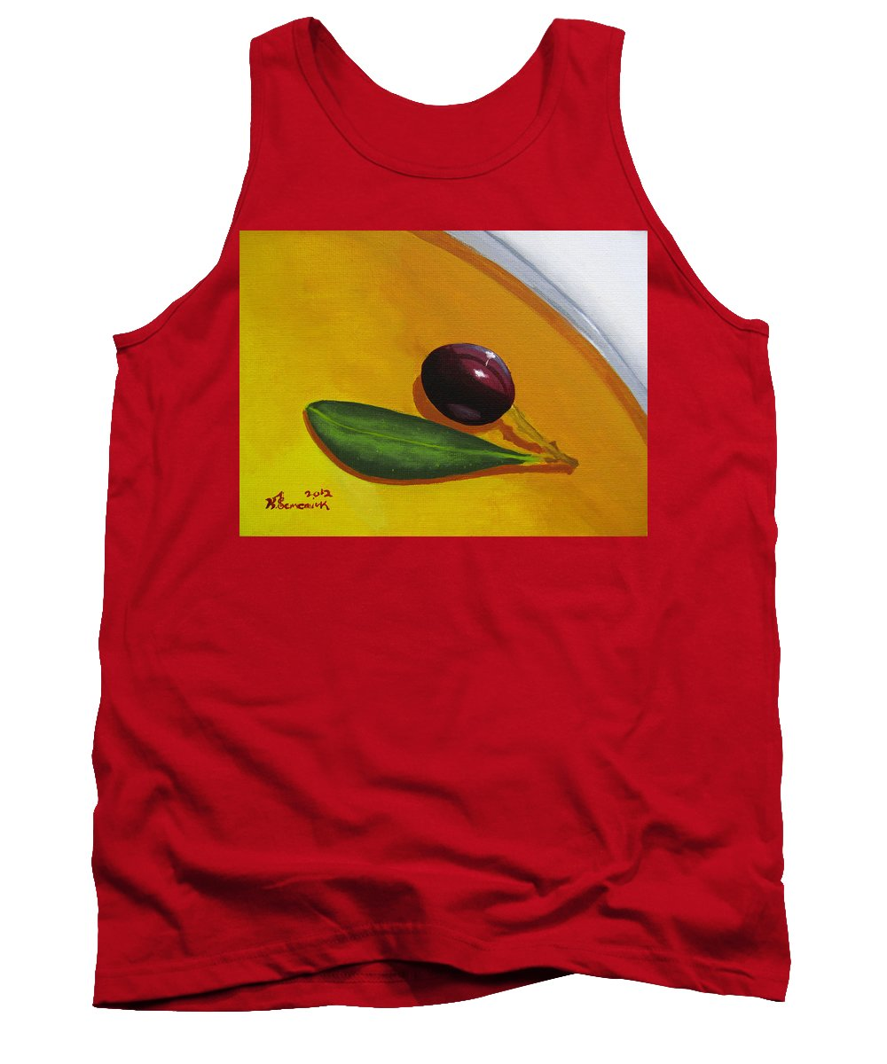 Yellow Tank Top featuring the painting Olive In Olive Oil by Kayleigh Semeniuk
