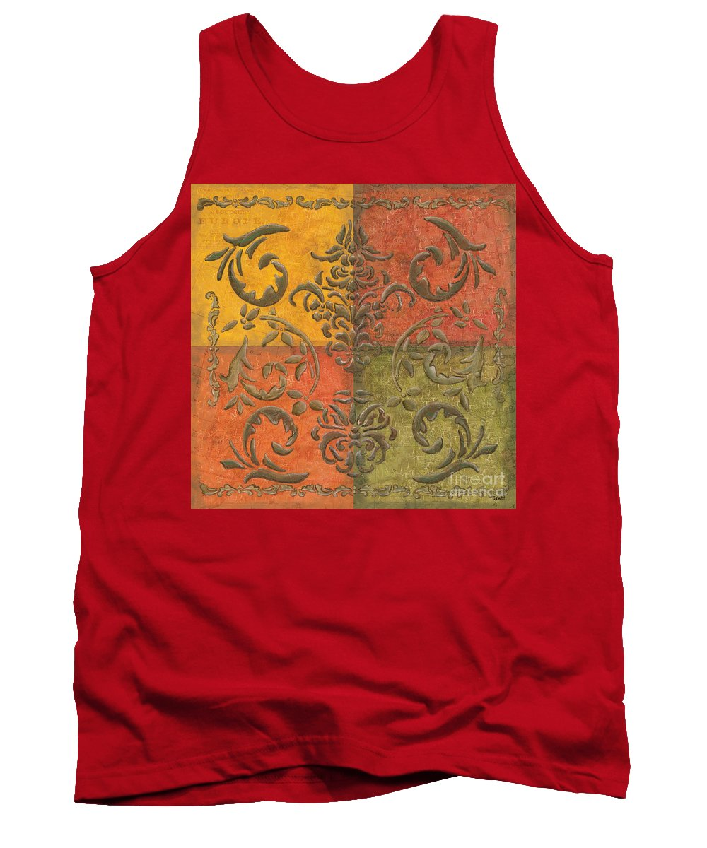 Transitional Tank Top featuring the painting Paprika Scroll by Debbie DeWitt