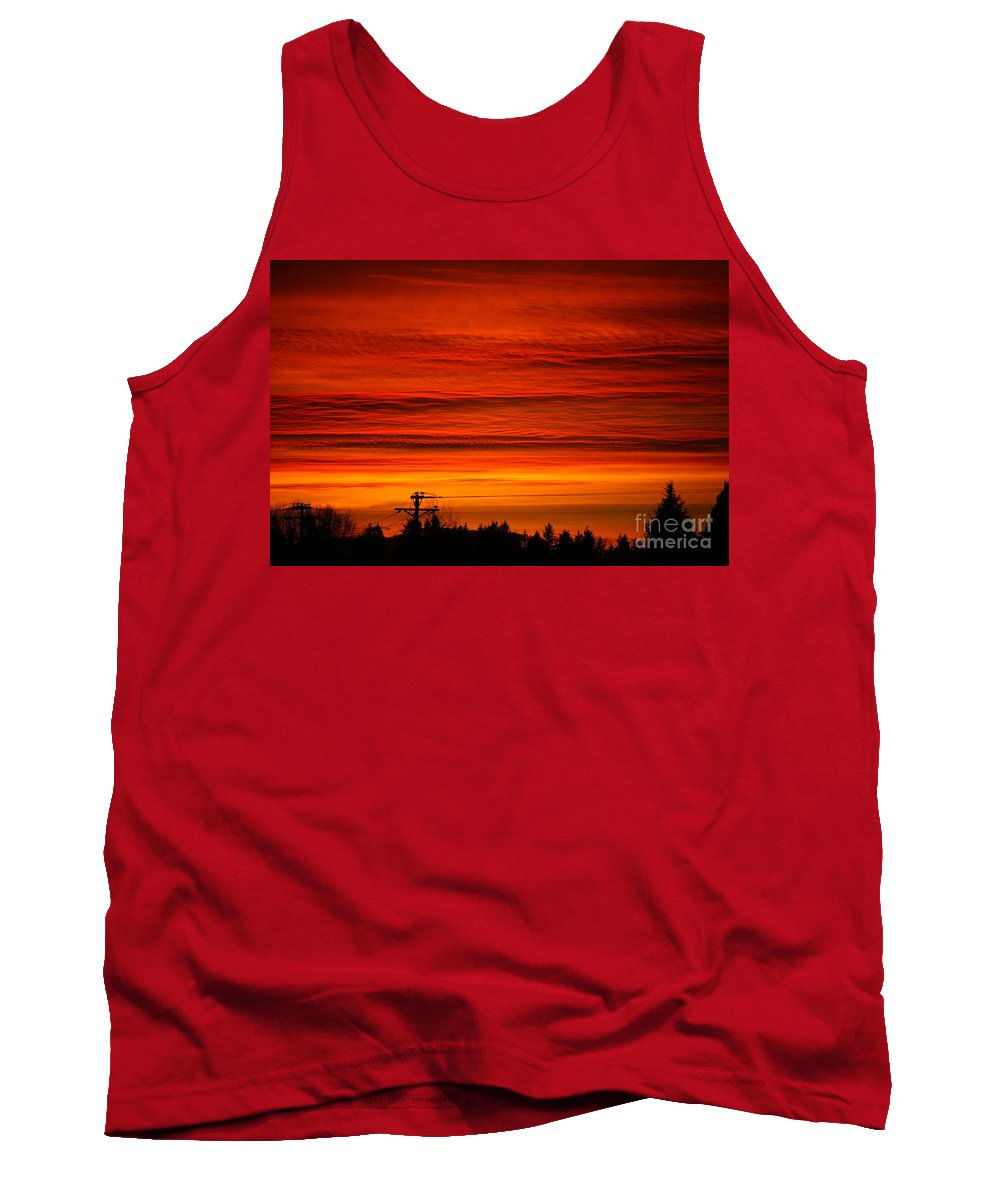 Storms Tank Top featuring the photograph Red Skies At Night by Randy Harris