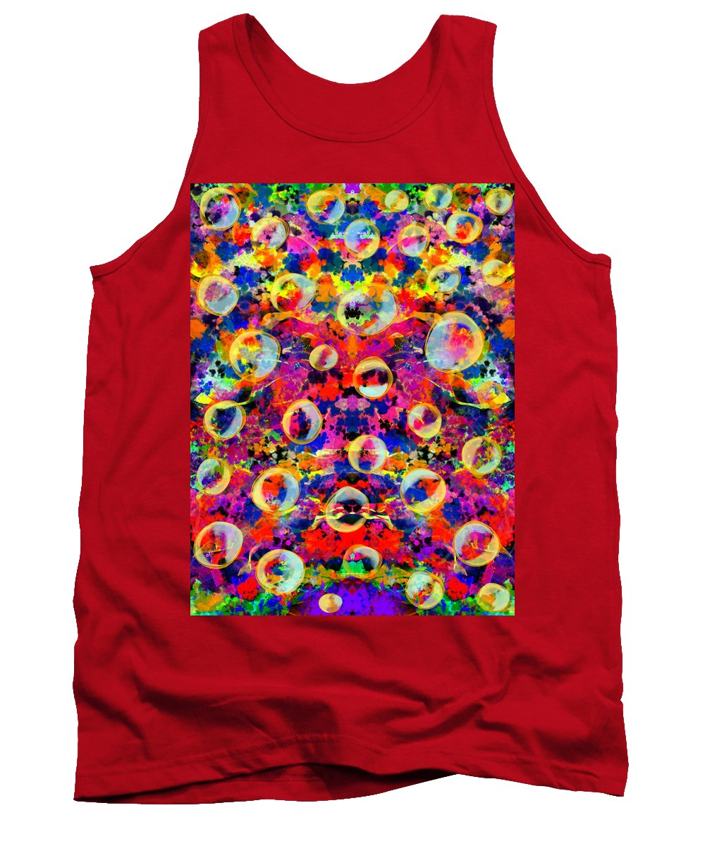 Tank Top featuring the digital art Space Bubbles by Mathieu Lalonde