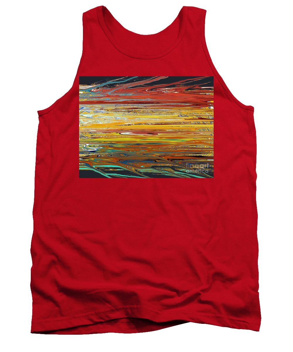 Abstract Horizontal Lines Colors Tank Top featuring the digital art Splish Splash by RJ Aguilar