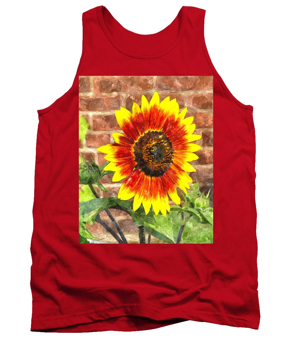 Sun Tank Top featuring the digital art Sunflower Sfwc by Jim Brage