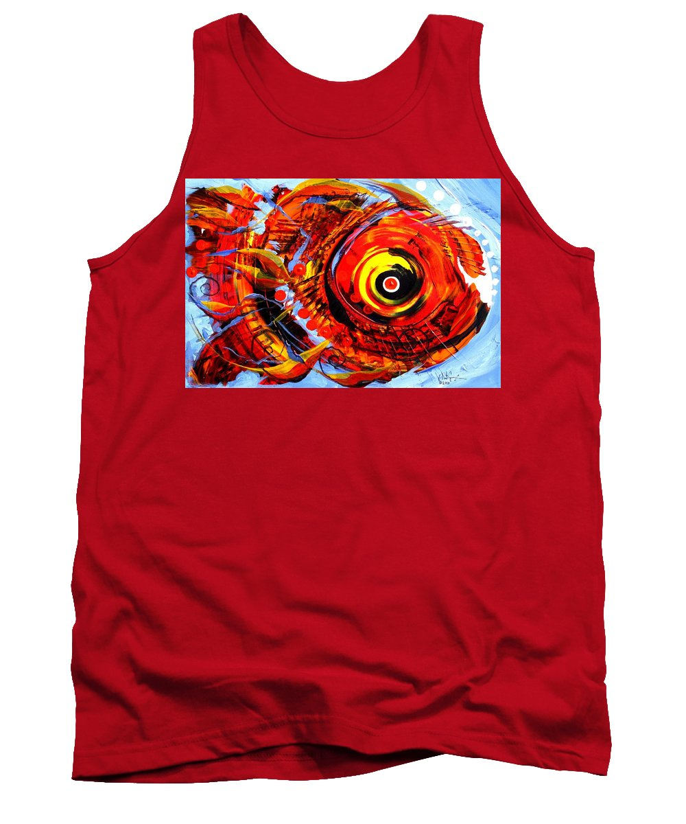 Fish Tank Top featuring the painting Textured Red Fish by J Vincent Scarpace