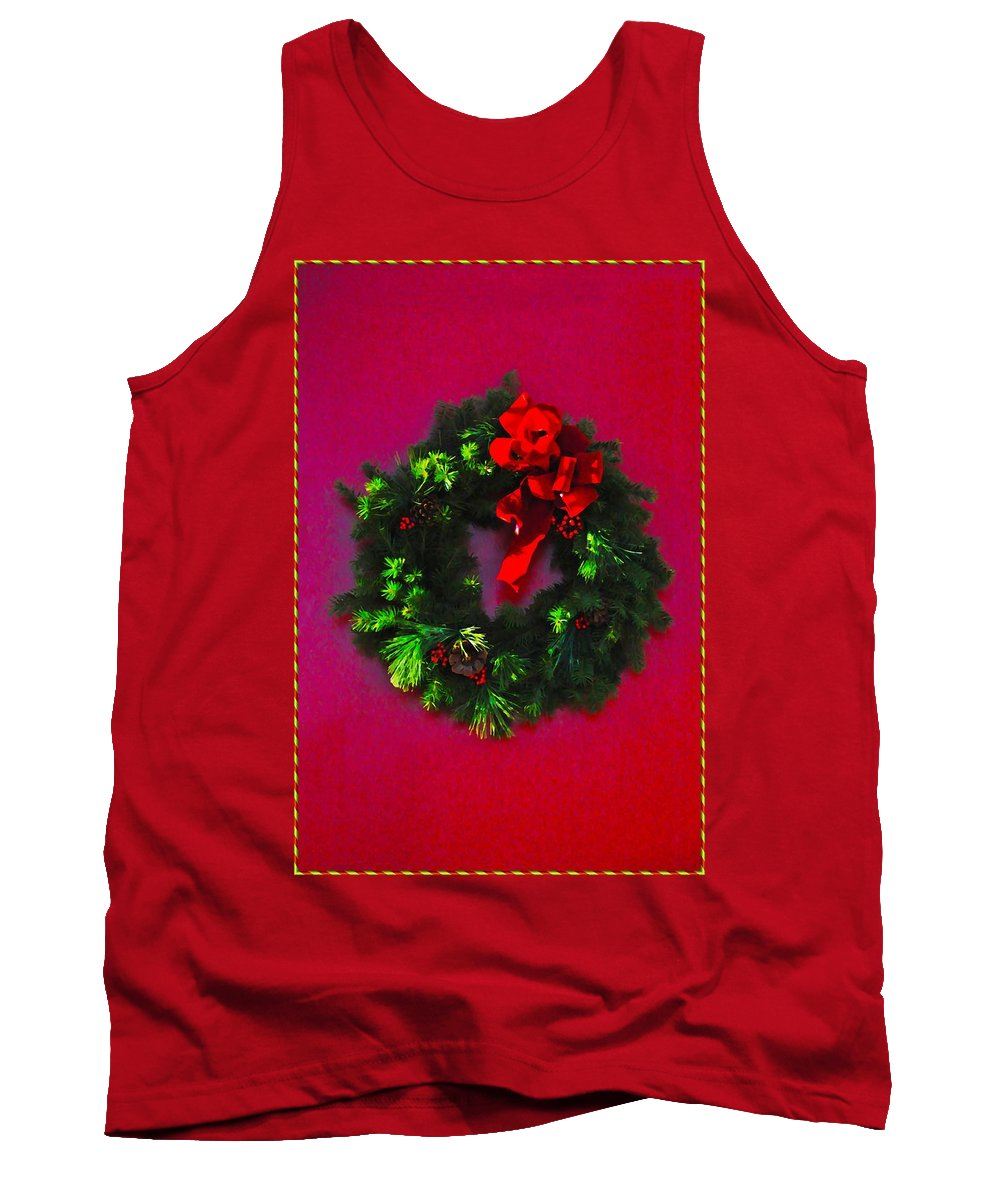 Christmas Tank Top featuring the photograph The Christmas Wreath by Bill Cannon