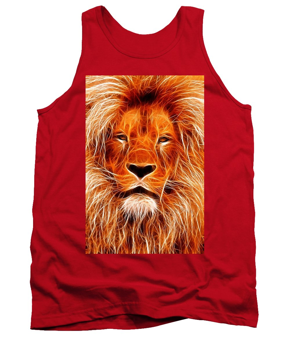 Lion Painting Acrylic Canvas Expressionism Impressionism Animal Jungle Africa Tank Top featuring the painting The Lions King by Steve K
