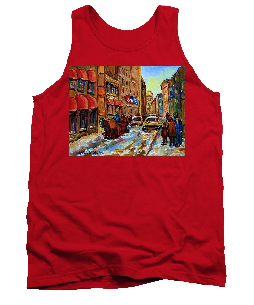 Horses Tank Top featuring the painting The Red Sled by Carole Spandau