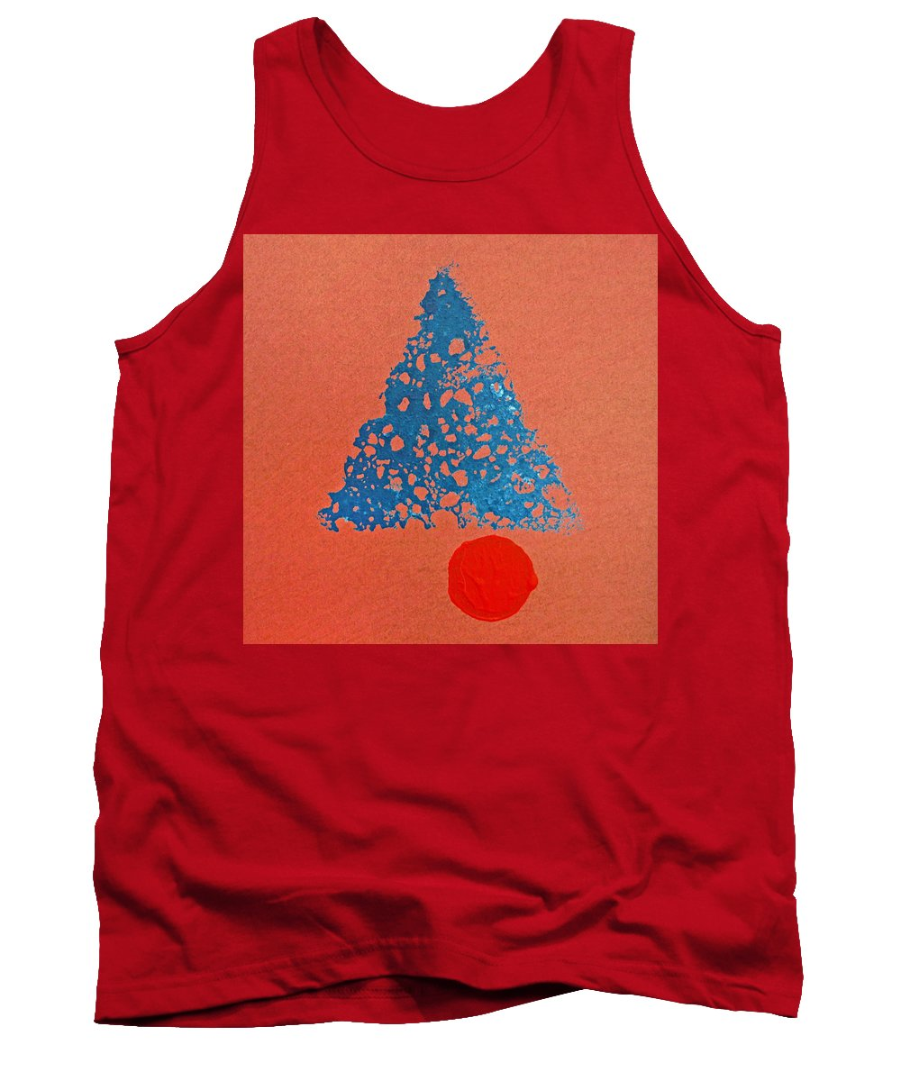 Native Tank Top featuring the painting Tipi With Fire Detail by Charles Stuart