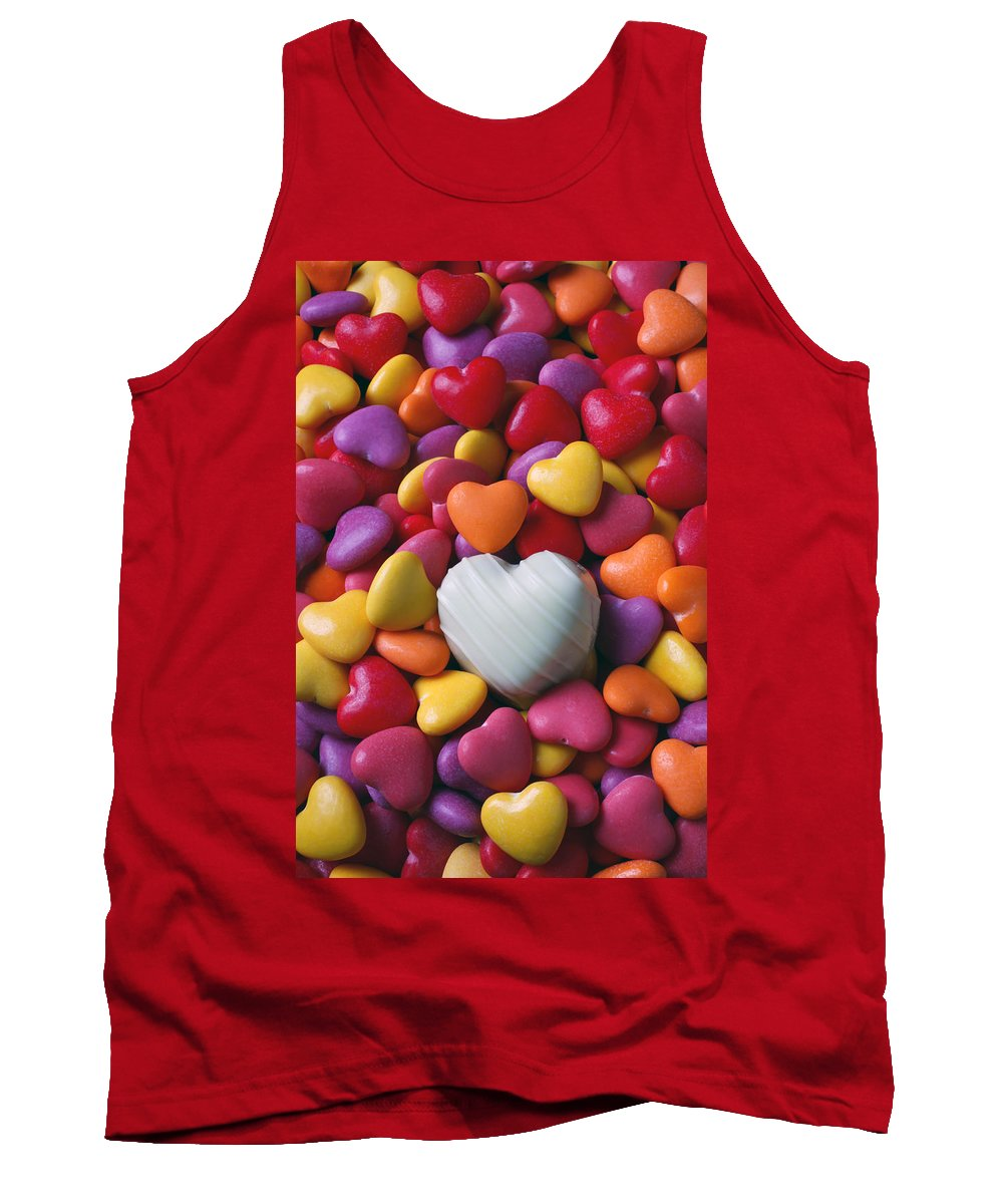 White Heart Candy Candies Love Tank Top featuring the photograph White Heart Candy by Garry Gay