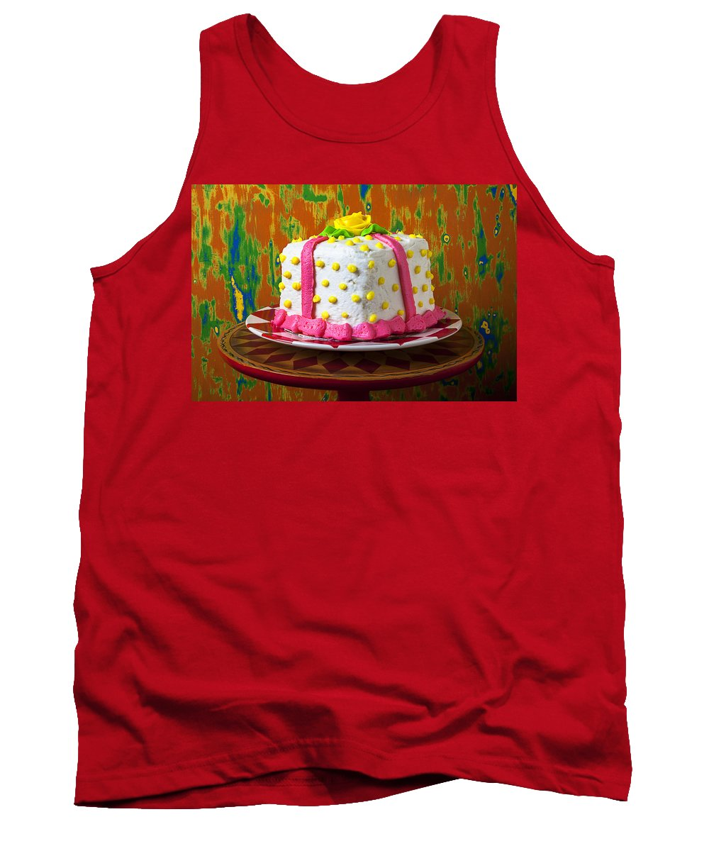 White Tank Top featuring the photograph White Present Cake by Garry Gay