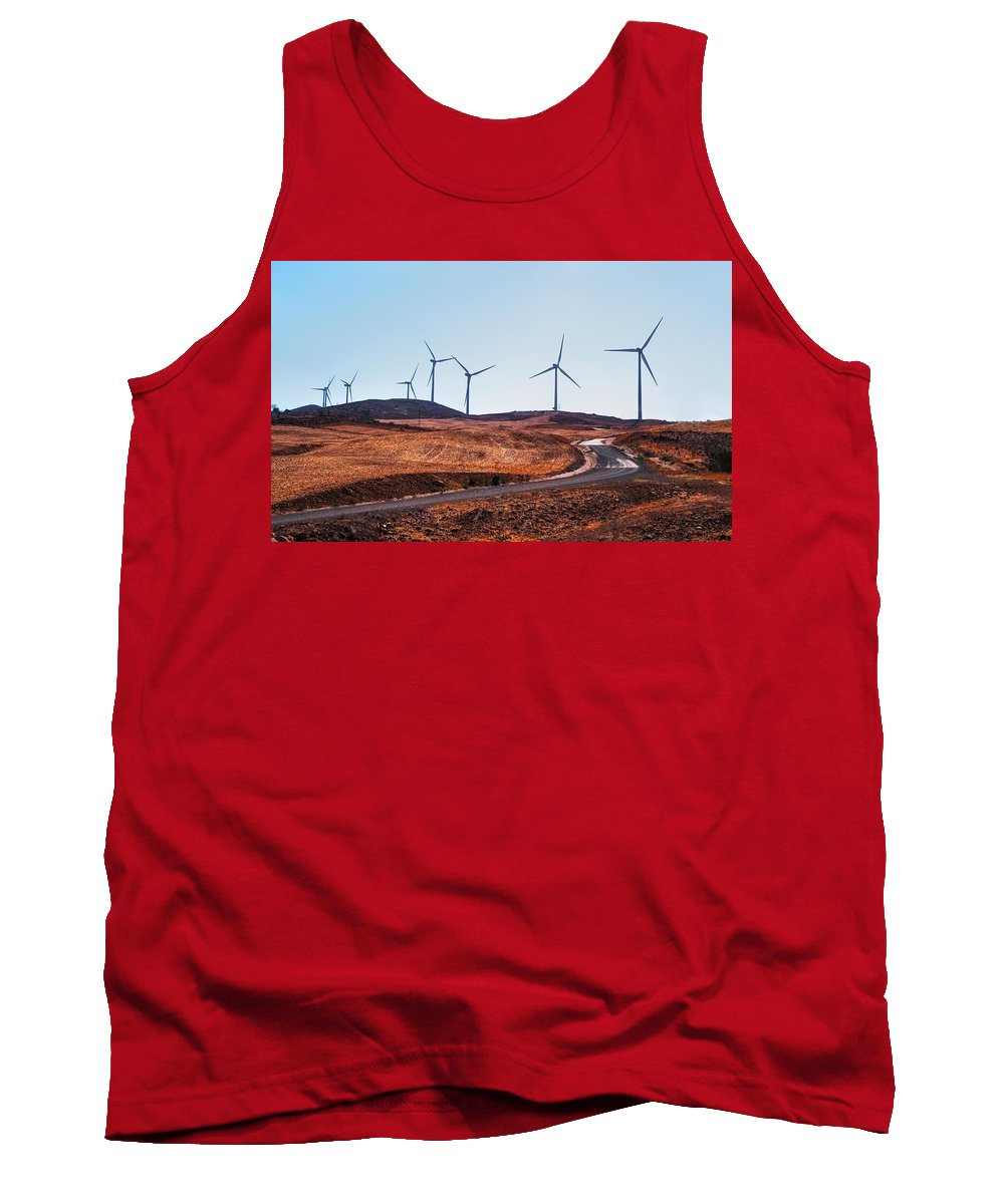 Landscape Tank Top featuring the photograph Windmills Near El Chorro by Jenny Rainbow