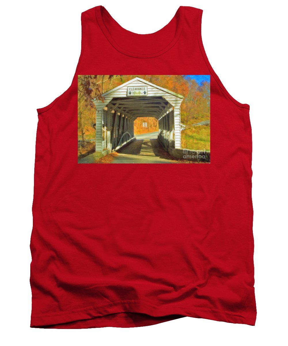 Covered Bridge Revolutionary Civil War Watercolor Photographs Tank Top featuring the photograph Covered Bridge Watercolor by David Zanzinger