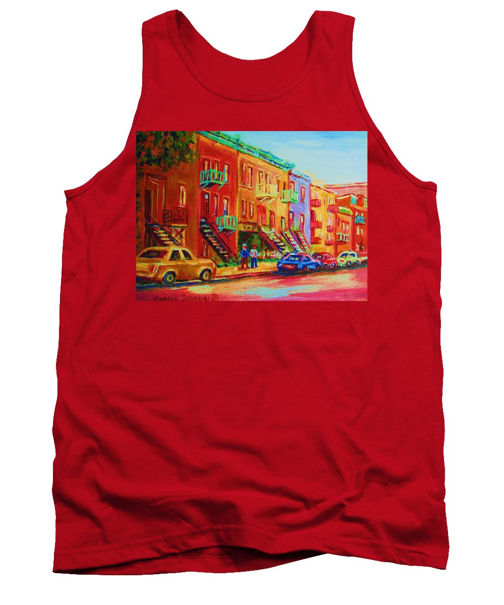 Painted Houses Tank Top featuring the painting Summer In The City by Carole Spandau