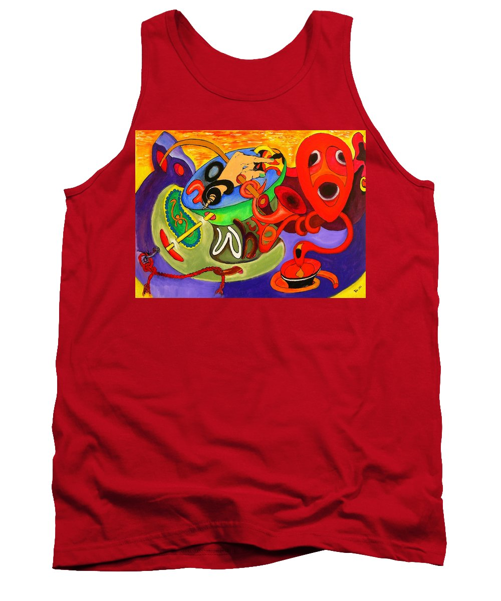 Time Tank Top featuring the painting Time Constraints by Helmut Rottler