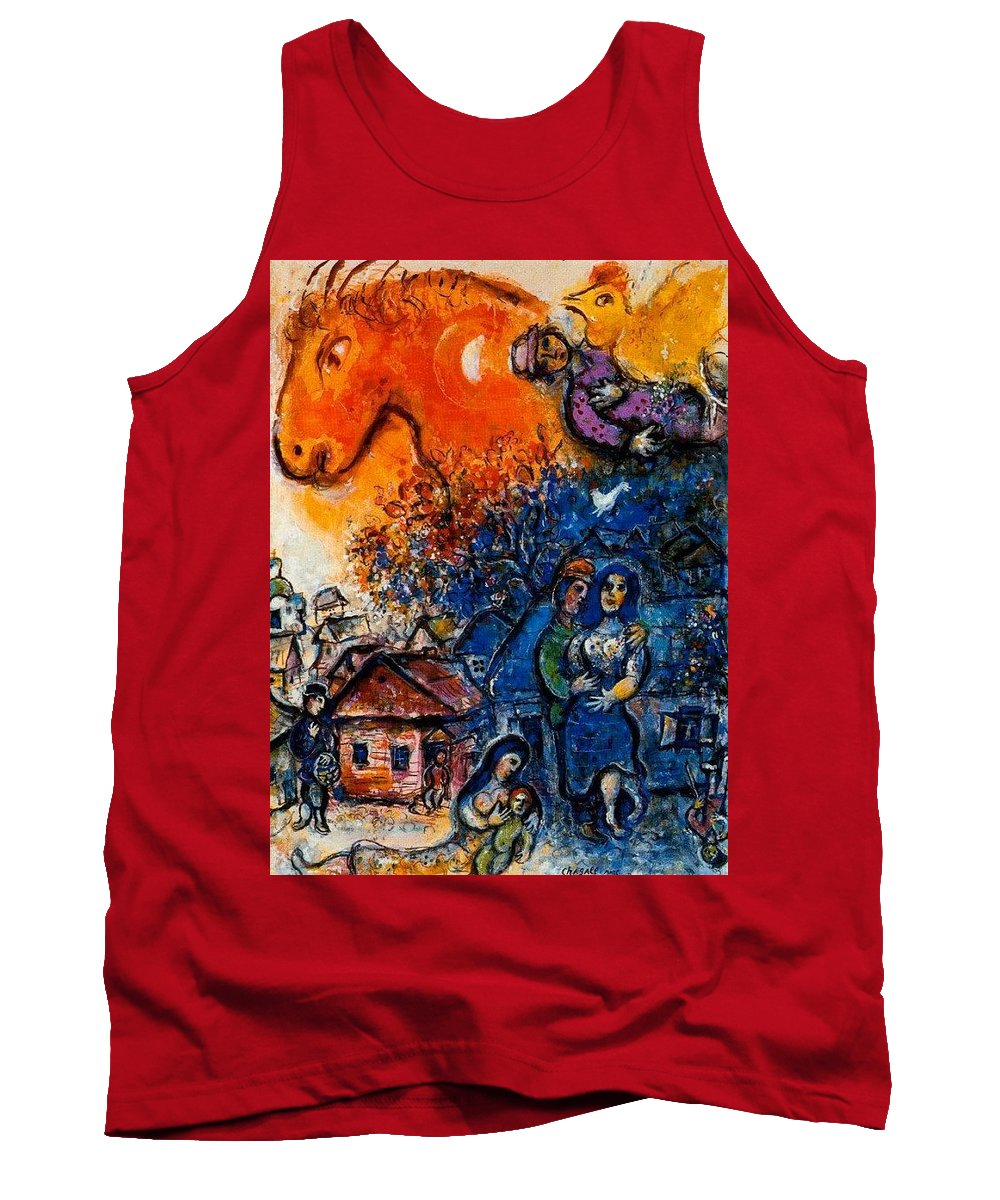 Puzzle Tank Top featuring the digital art 4dpictfdrew3 Marc Chagall by Eloisa Mannion