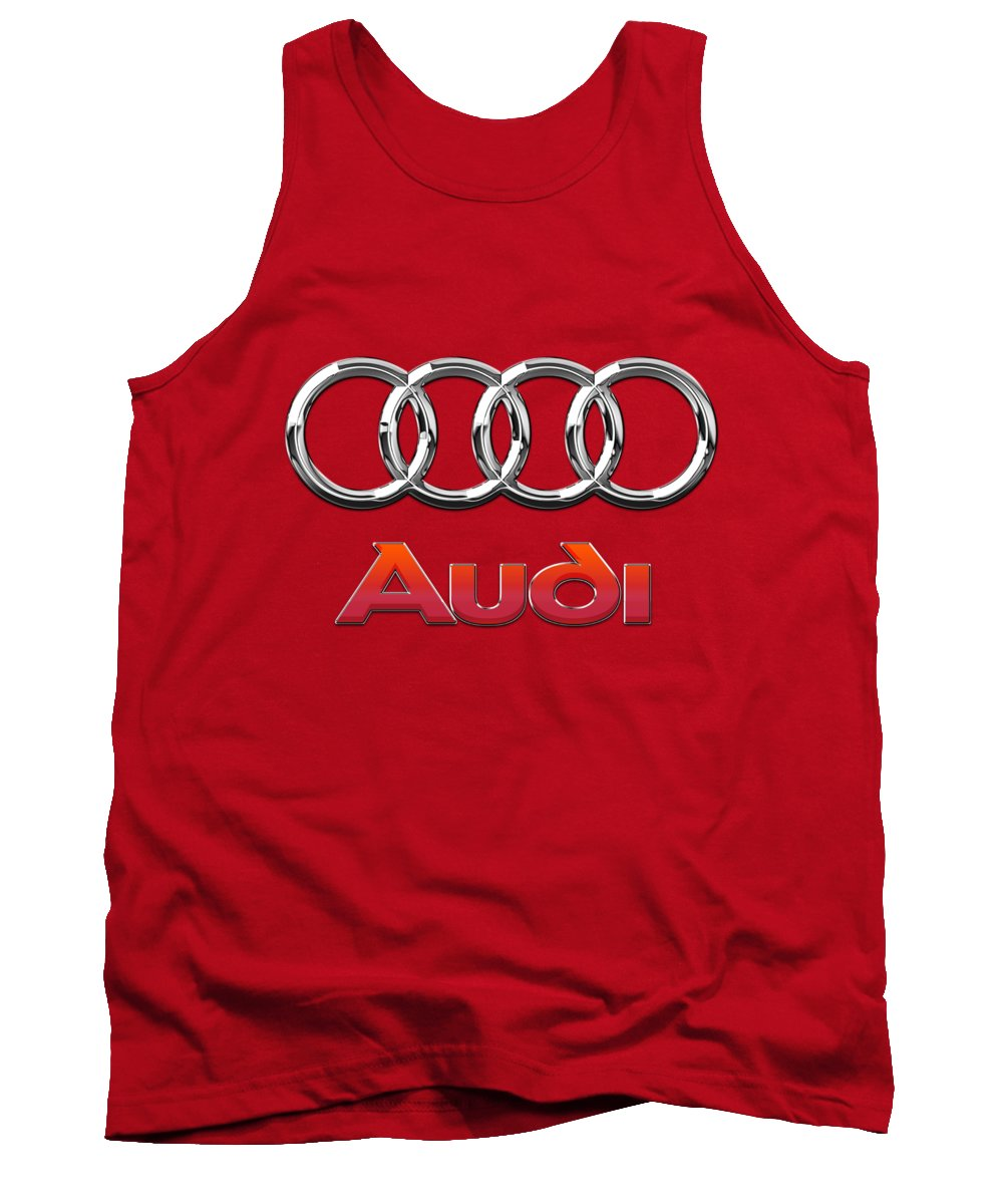 Wheels Of Fortune By Serge Averbukh Tank Top featuring the photograph Audi - 3d Badge On Red by Serge Averbukh