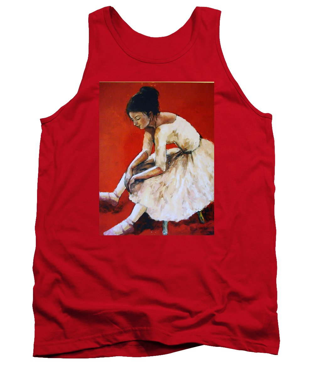 Ballerina Tank Top featuring the painting Back Stage by Janet Lavida