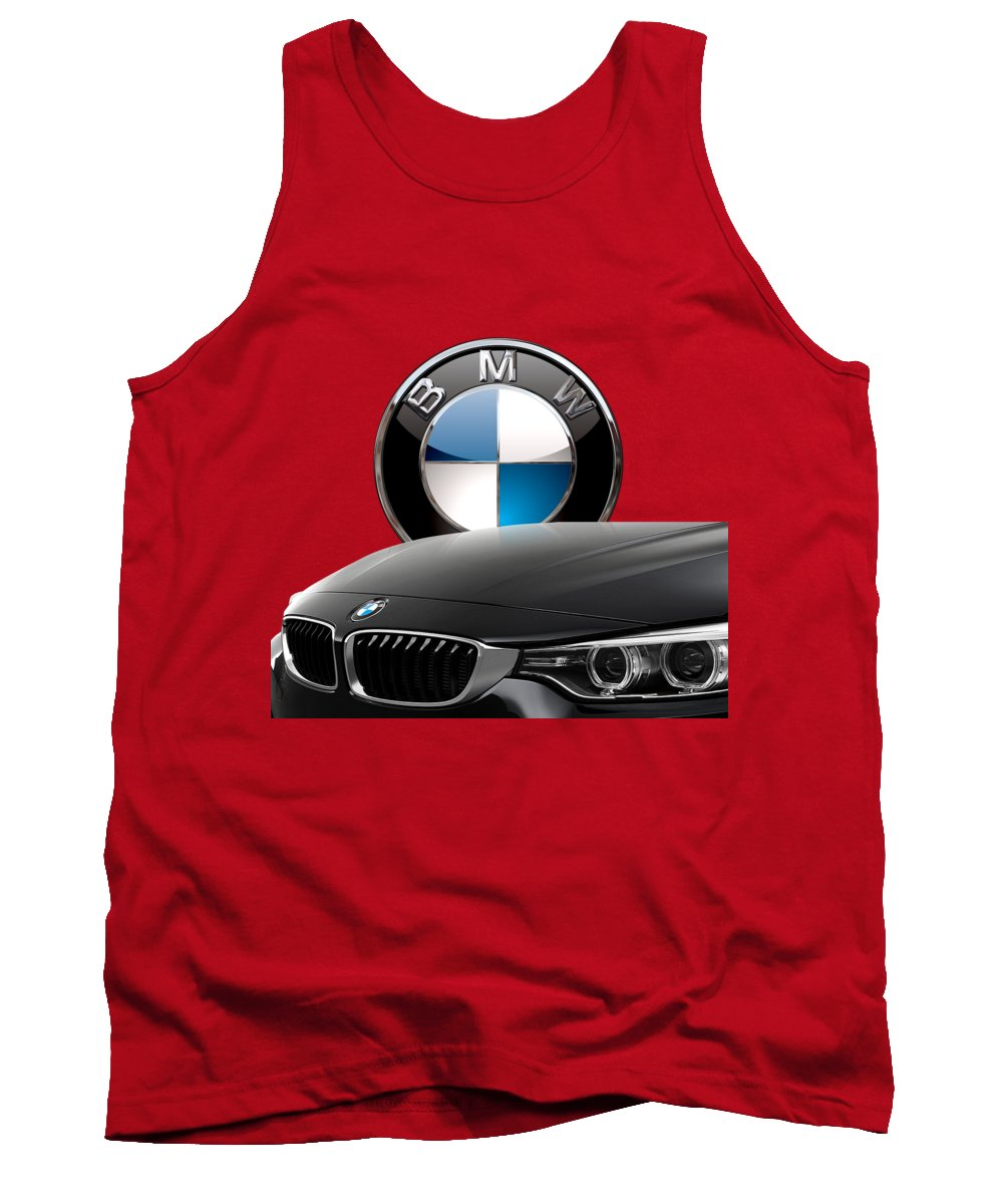 �auto Badges� Collection By Serge Averbukh Tank Top featuring the photograph Black B M W - Front Grill Ornament and 3 D Badge on Red by Serge Averbukh