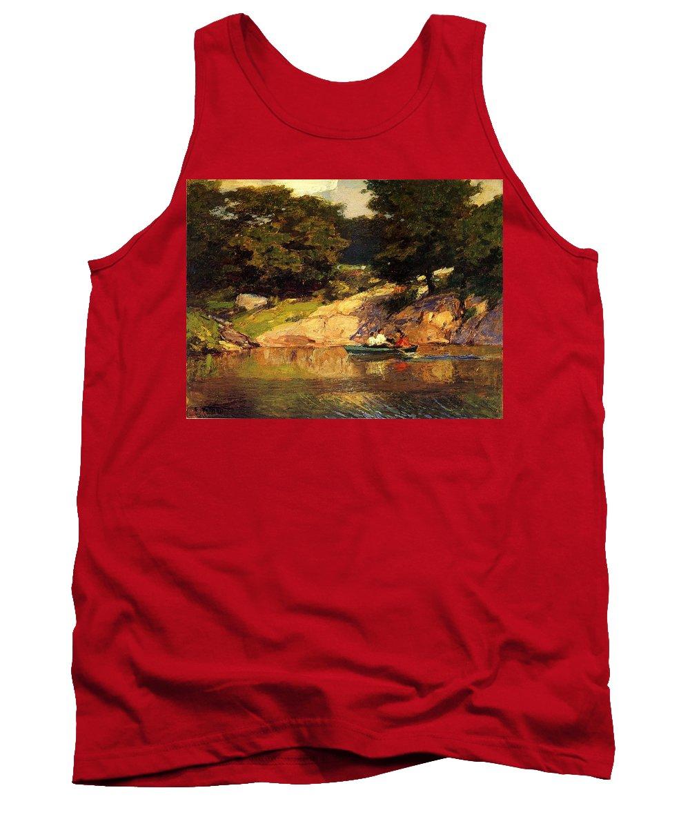 Landscape Tank Top featuring the digital art Boating In Central Park Edward Henry Potthast by Eloisa Mannion