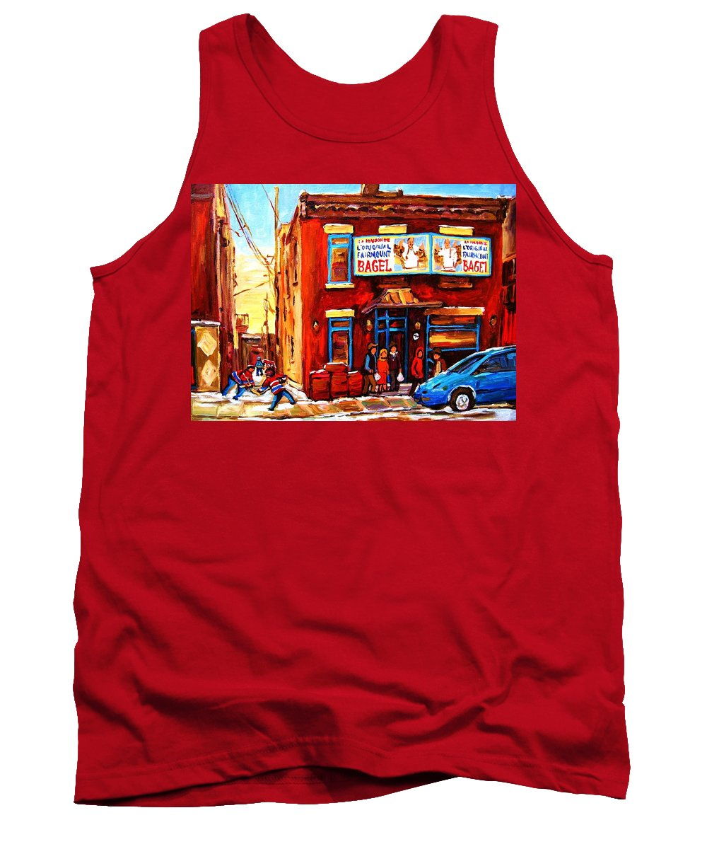 Hockey Tank Top featuring the painting Fairmount Bagel In Winter by Carole Spandau