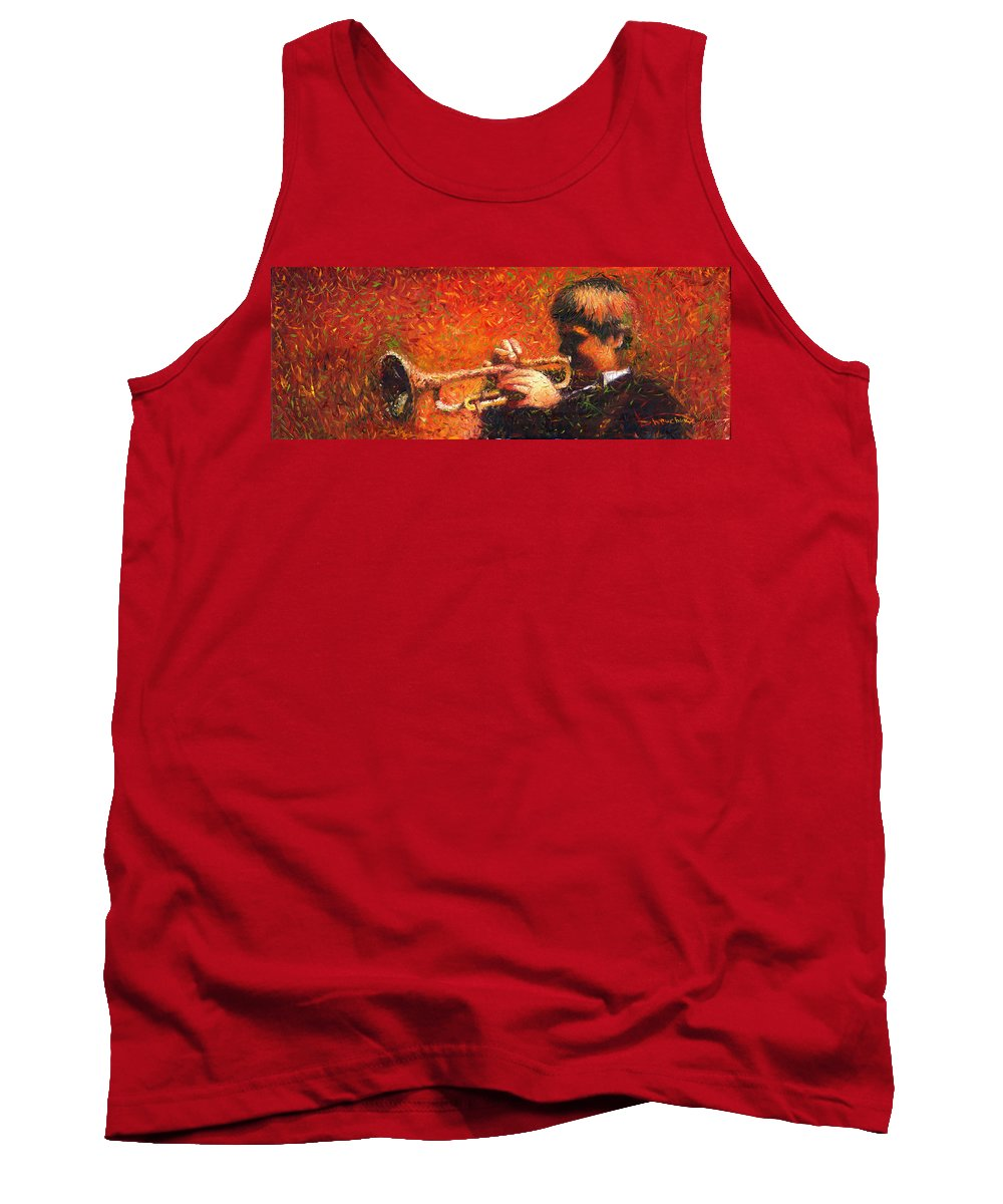Jazz Tank Top featuring the painting Jazz Trumpeter by Yuriy Shevchuk