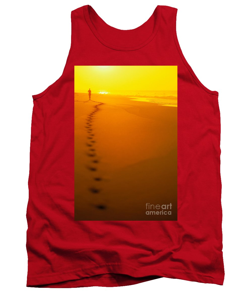 C1211 Tank Top featuring the photograph Jogging At Sunset by Dana Edmunds - Printscapes