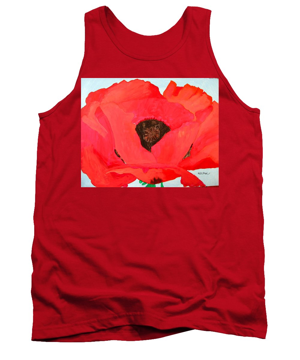 Poppy Tank Top featuring the painting Large Poppy by Richard Le Page