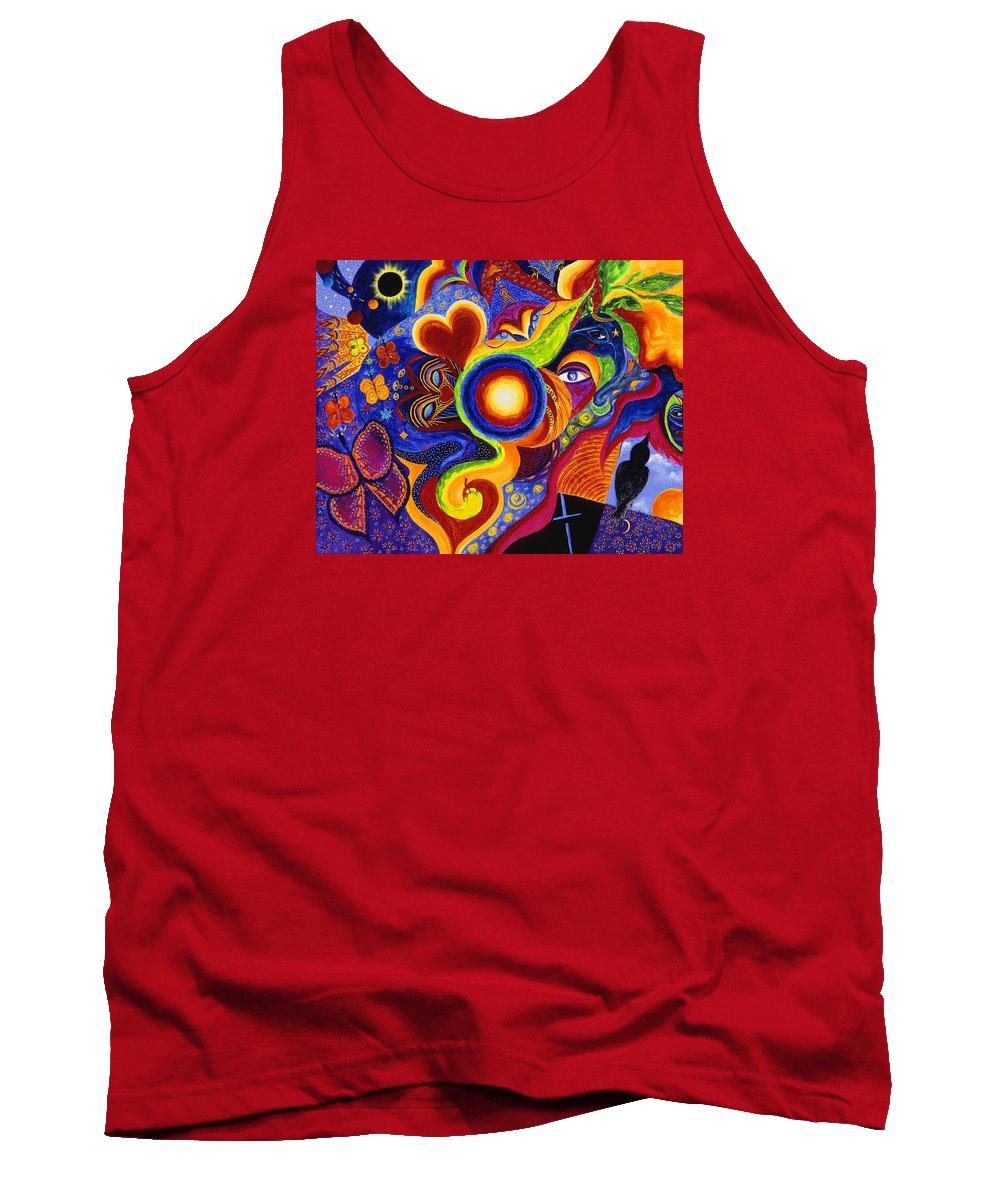 Abstract Tank Top featuring the painting Magical Eclipse by Marina Petro