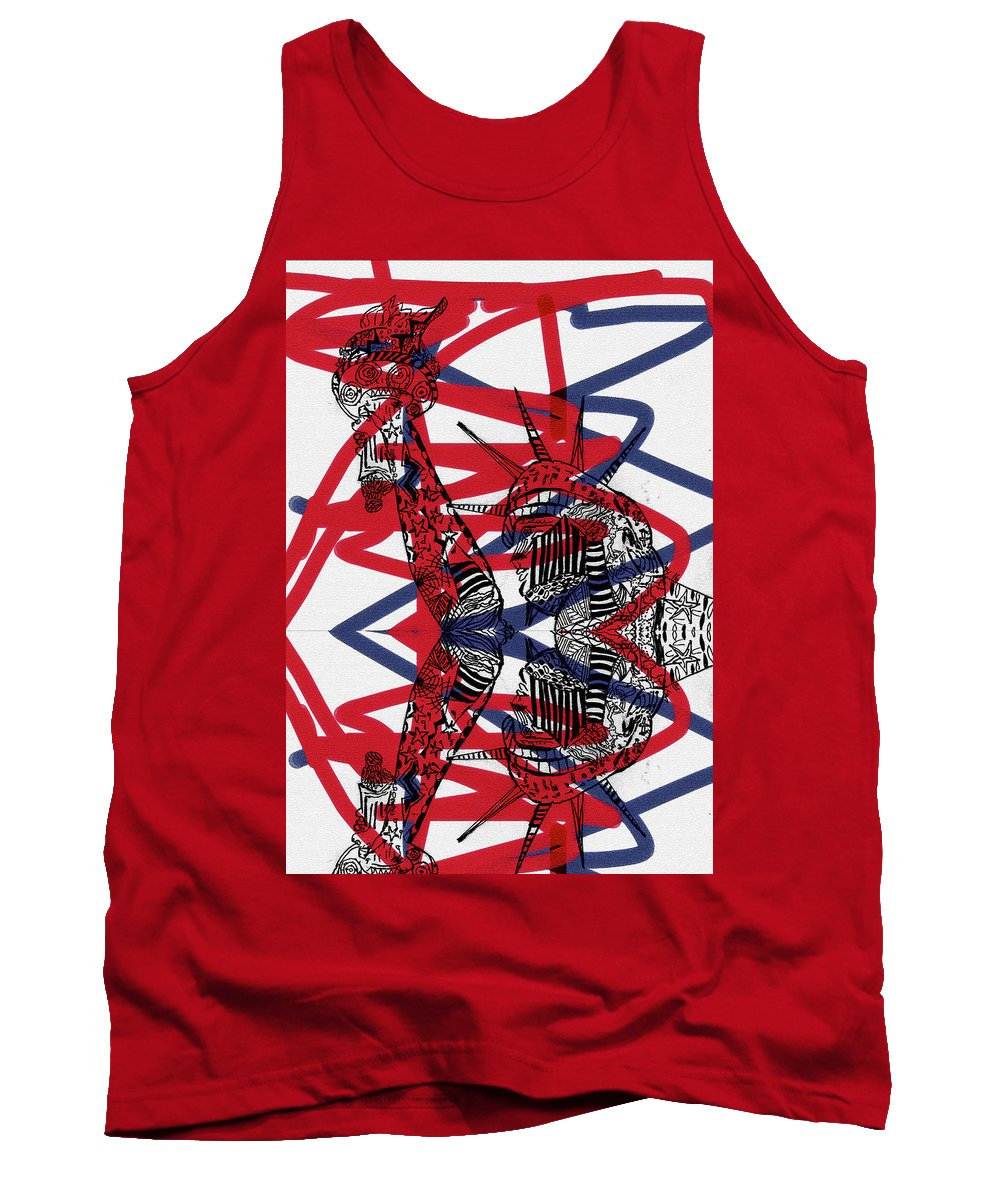 Statue Of Liberty Tank Top featuring the drawing Statue Of Liberty by Day Williams