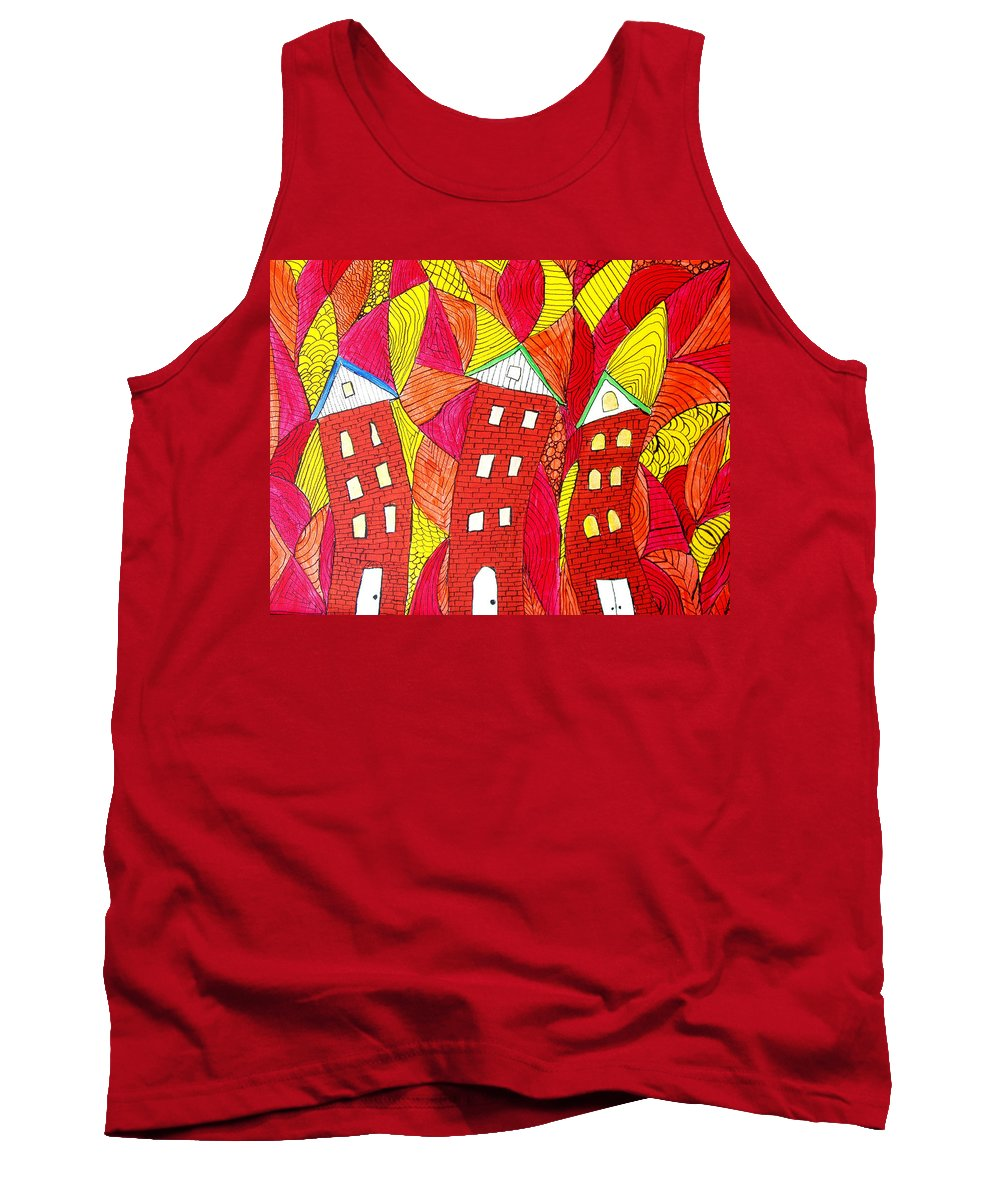 Houses Tank Top featuring the painting Summer In The City by Wayne Potrafka