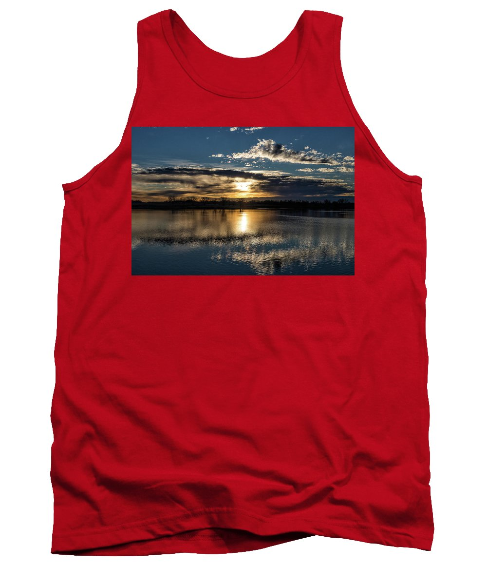 Sunrise Tank Top featuring the photograph Sunrise Reflections On The Great Plains by Tony Hake