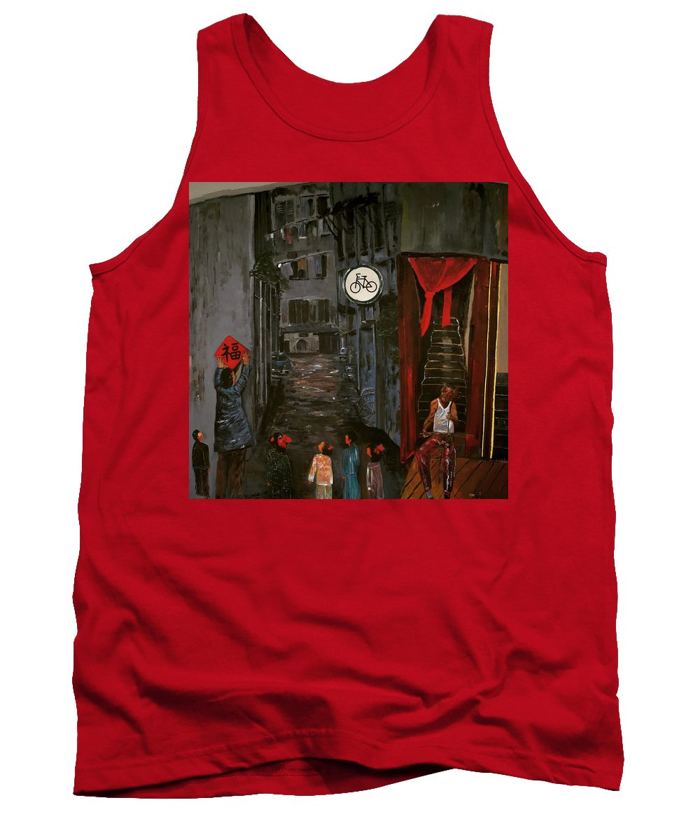 Chinese Woman Tank Top featuring the painting The Backlane by Belinda Low