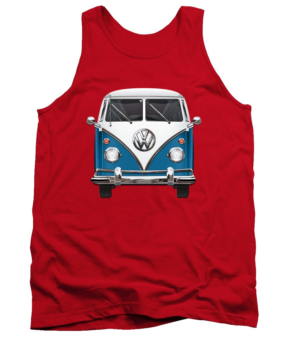'volkswagen Type 2' Collection By Serge Averbukh Tank Top featuring the photograph Volkswagen Type 2 - Blue And White Volkswagen T 1 Samba Bus Over Orange Canvas by Serge Averbukh