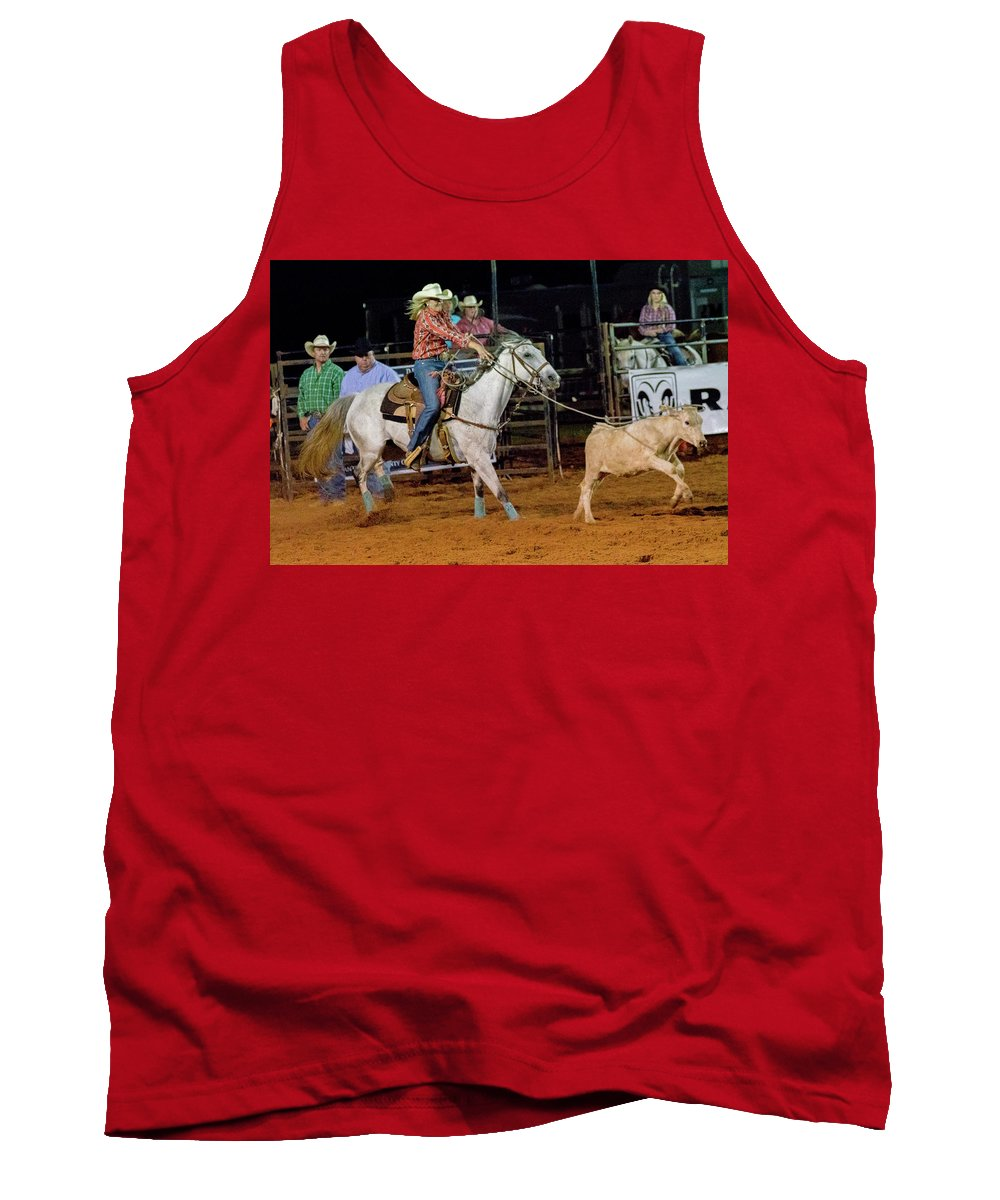 Horse Tank Top featuring the photograph Steer Roping by Glenn Matthews