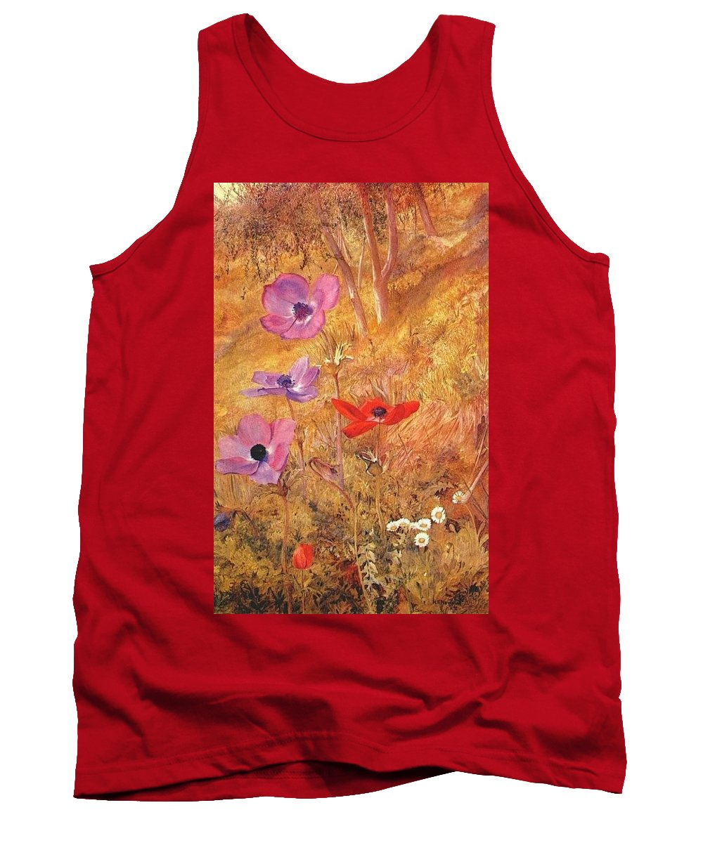 Five-spot Tank Top featuring the digital art anemones 1876 Henry Roderick Newman by Eloisa Mannion