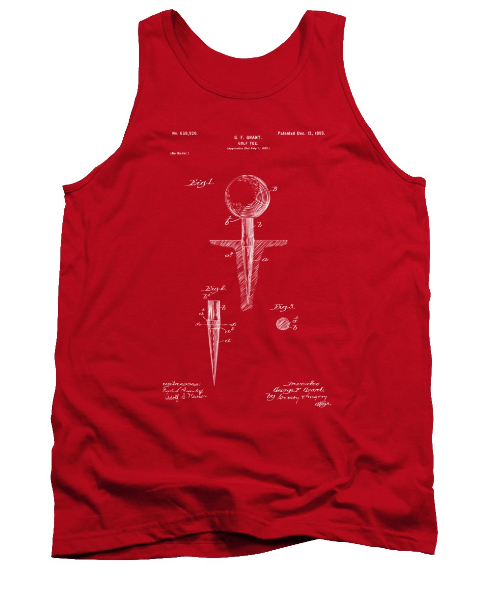 Golf Tank Top featuring the digital art 1899 Golf Tee Patent Artwork Red by Nikki Marie Smith