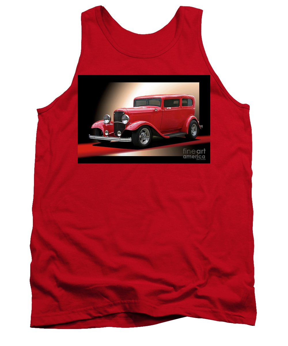 Hot Rod Key Words Tank Top featuring the photograph 1932 Ford 'cherry Bomb' Sedan by Dave Koontz