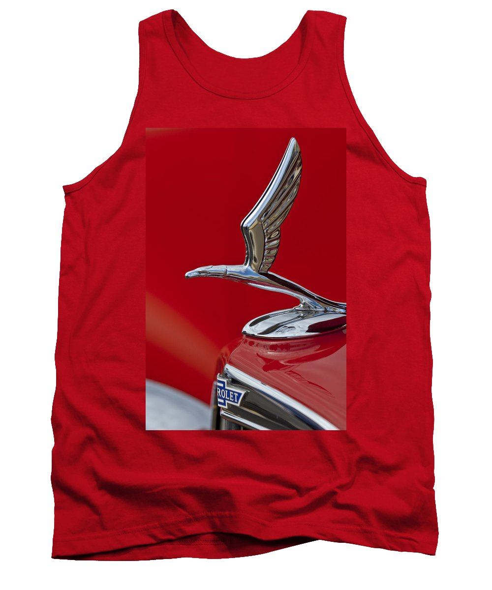 1933 Chevrolet Coupe Tank Top featuring the photograph 1933 Chevrolet Coupe Hood Ornament 2 by Jill Reger