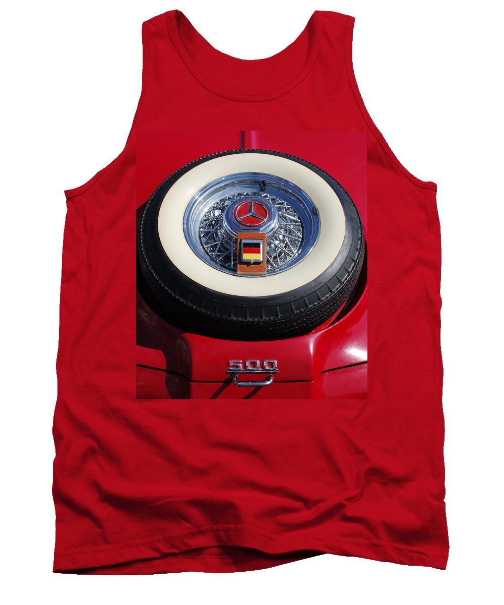Car Tank Top featuring the photograph 1934 Mercedes Benz 500k Roadster 8 Spare Tire by Jill Reger