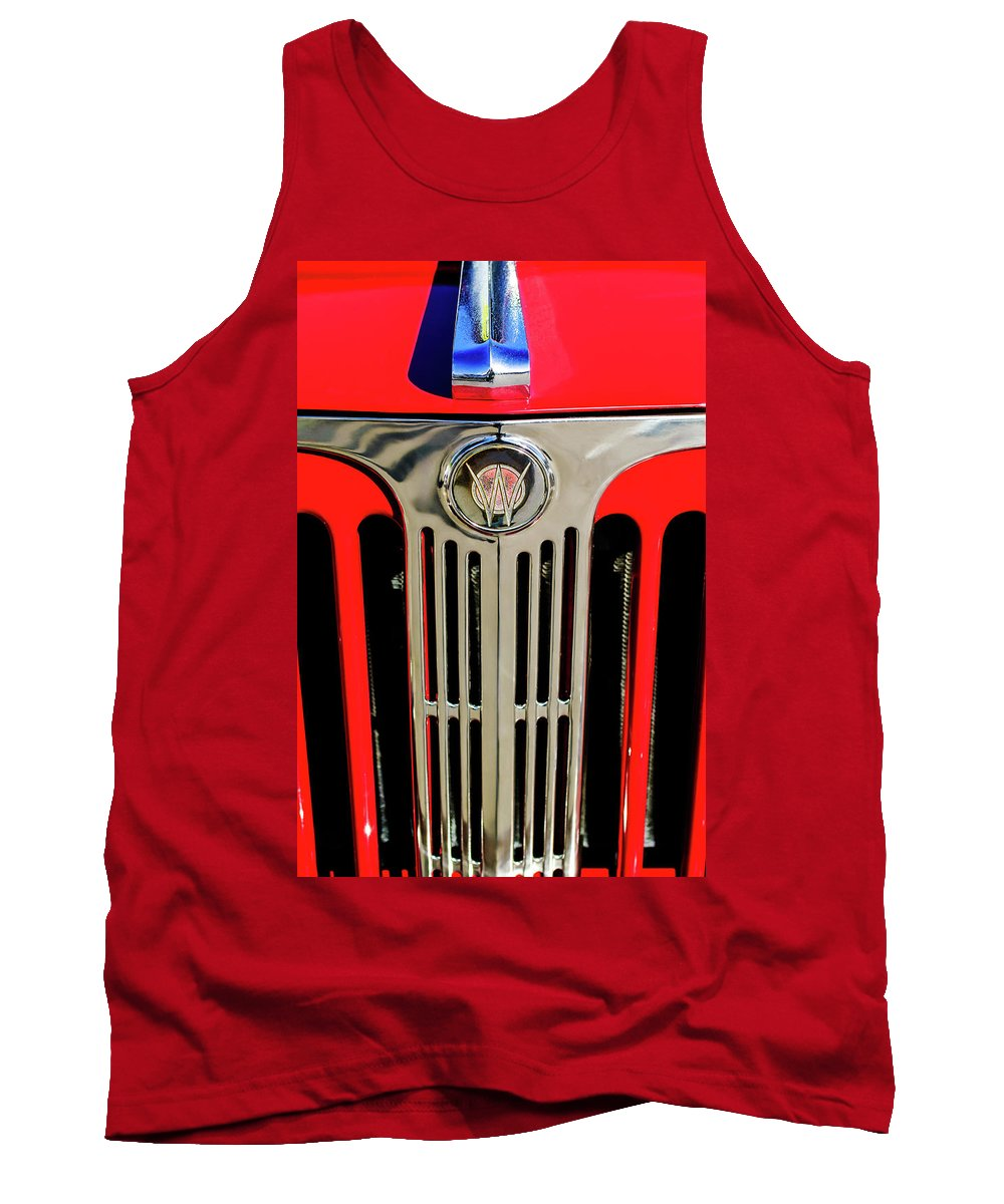 1949 Willys Jeepster Grille Tank Top featuring the photograph 1949 Willys Jeepster Hood Ornament And Grille by Jill Reger