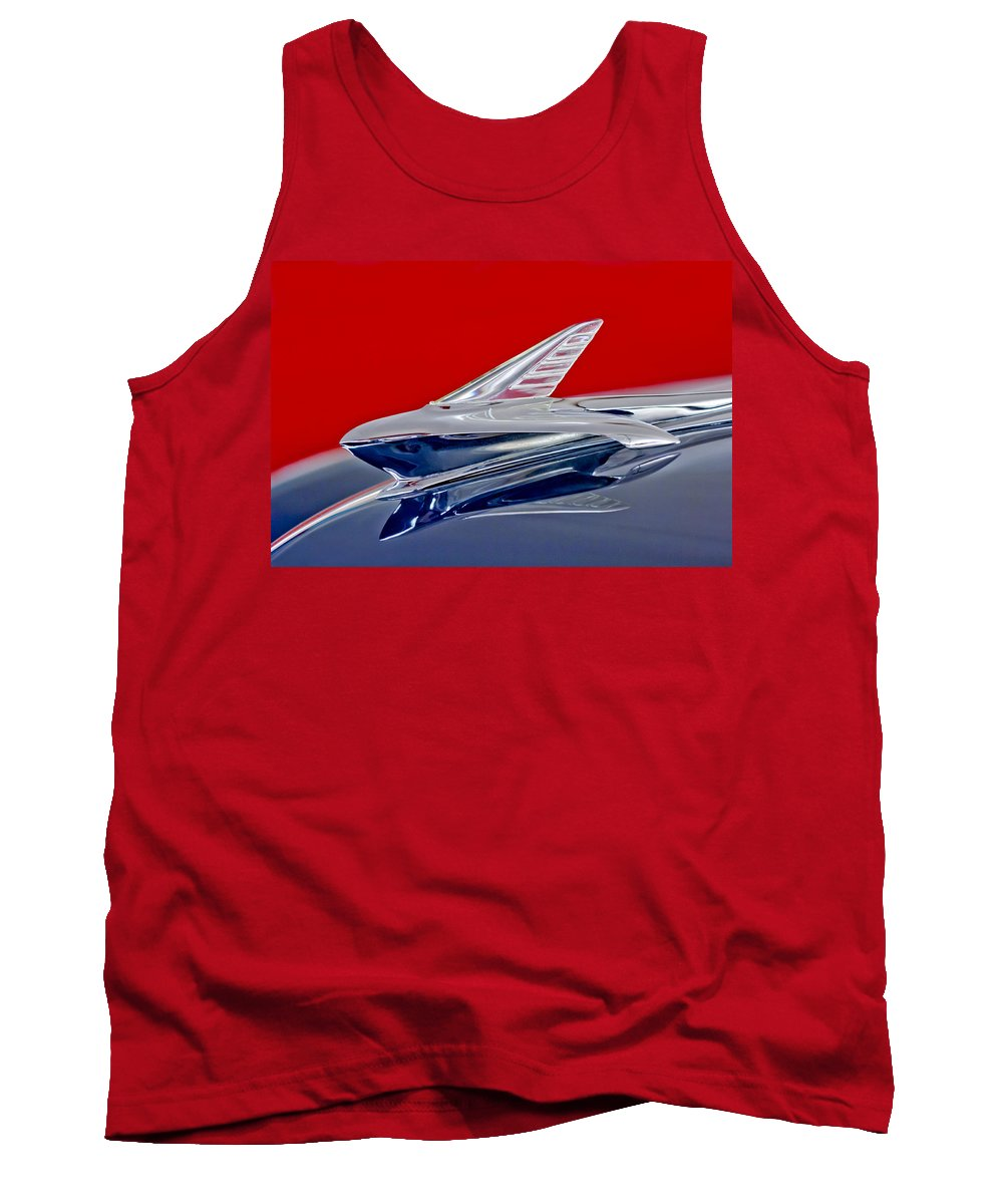 1951 Ford Woodie Tank Top featuring the photograph 1951 Ford Woodie Hood Ornament by Jill Reger