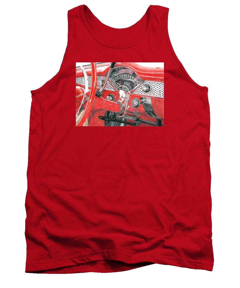 Classic Tank Top featuring the drawing 1955 Chevrolet Bel Air by Rob De Vries