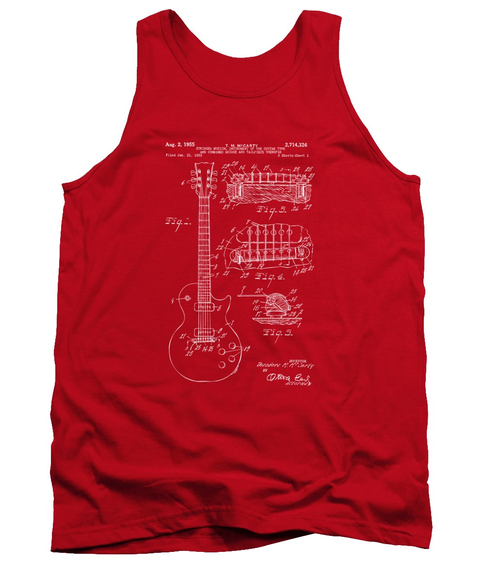 Guitar Tank Top featuring the digital art 1955 McCarty Gibson Les Paul Guitar Patent Artwork Red by Nikki Marie Smith