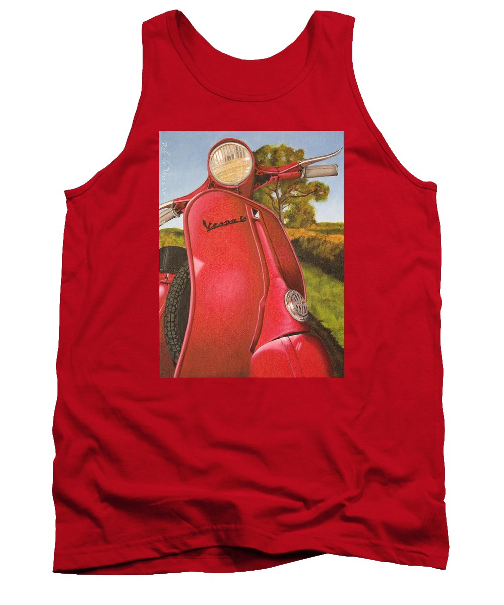 Scooter Tank Top featuring the painting 1963 Vespa 50 by Rob De Vries