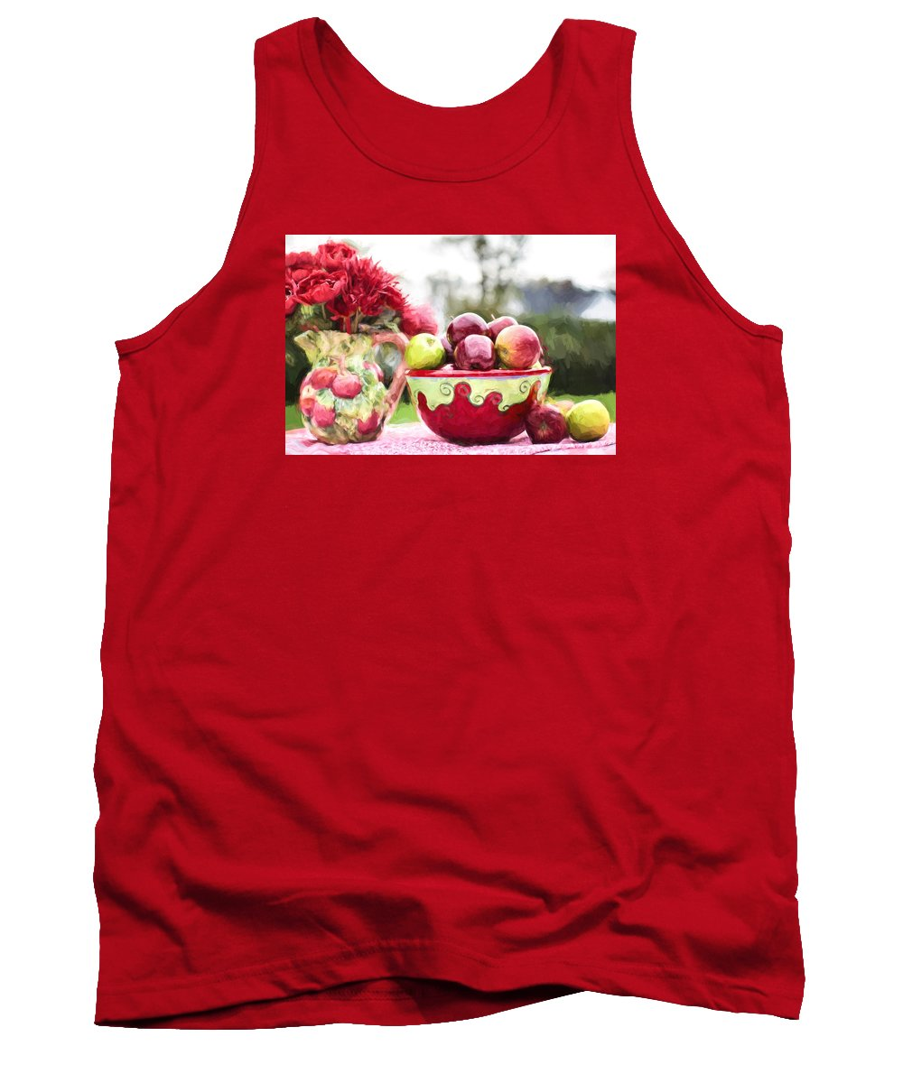 Red Apples In Bowl Tank Top featuring the digital art Fall Harvest by Jill Wellington