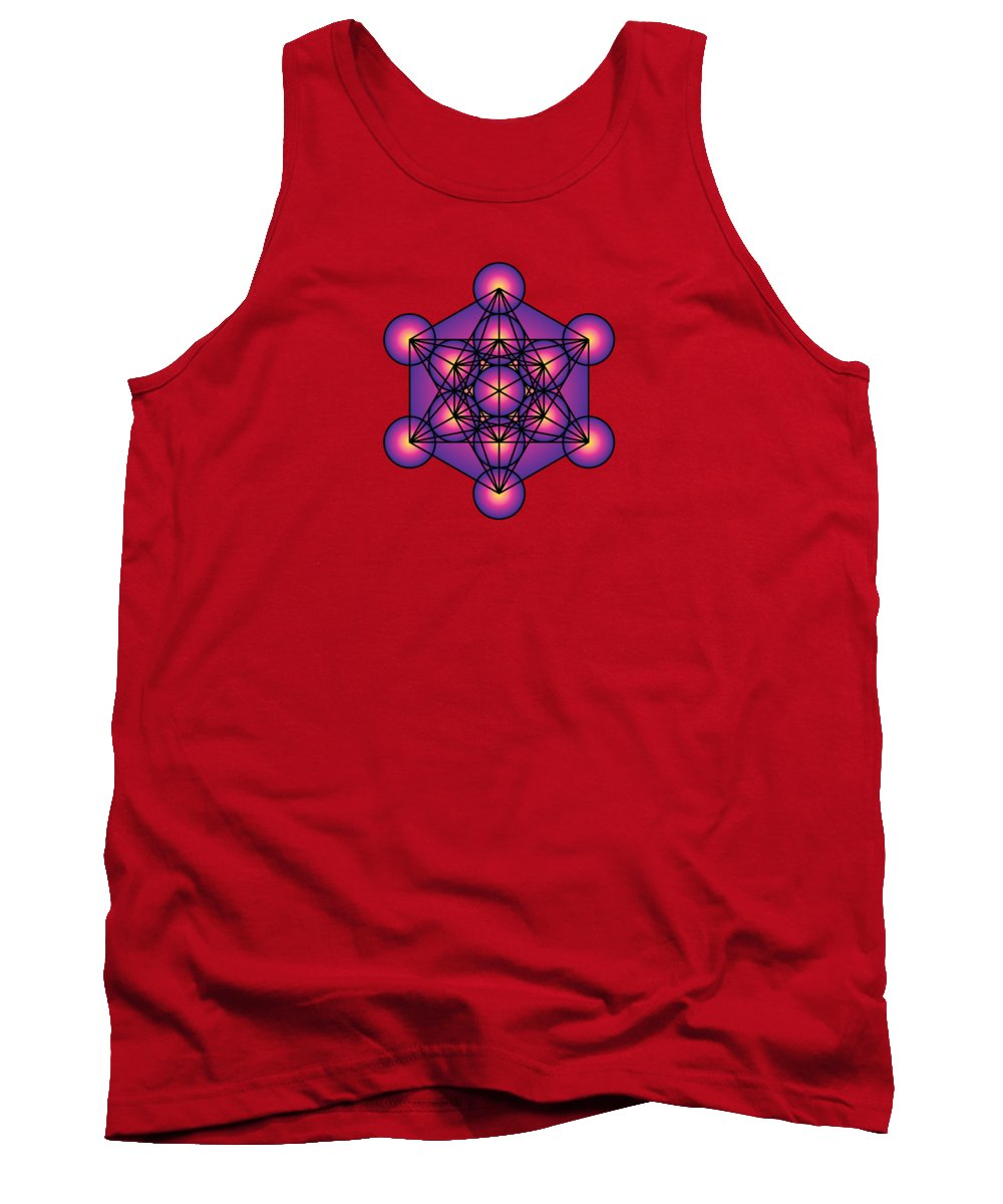 Metatron's Cube Tank Top featuring the digital art Metatron's Cube by Galactic Mantra