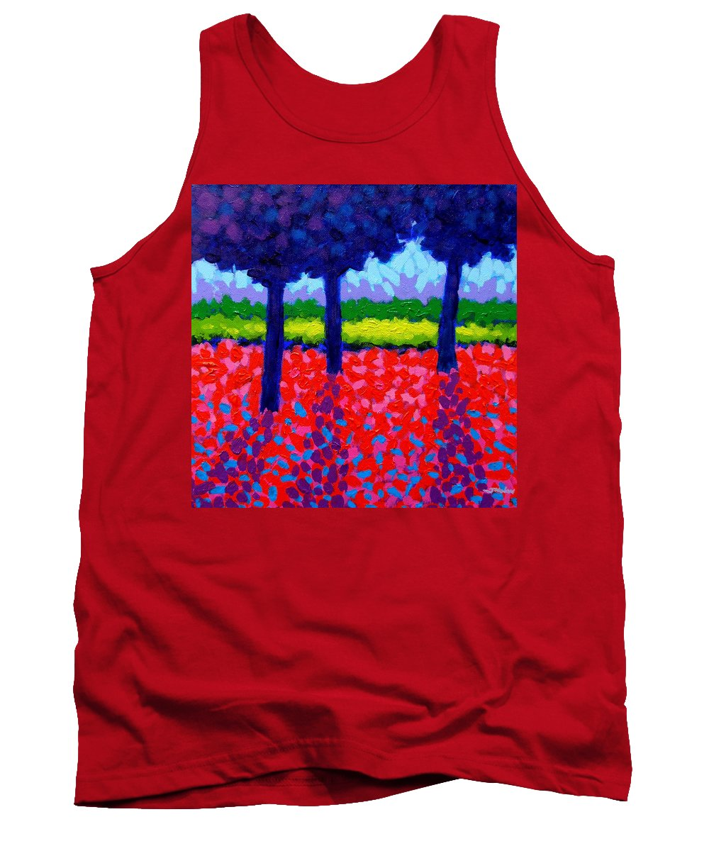 Trees Tank Top featuring the painting Shadow Trees by John Nolan
