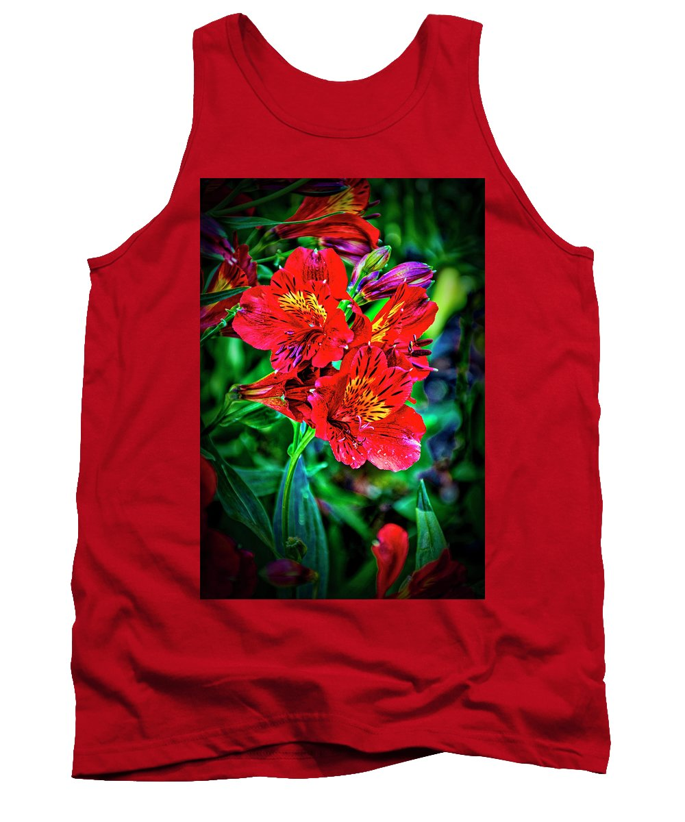 Californai Tank Top featuring the photograph 2647- Red Flowers by David Lange